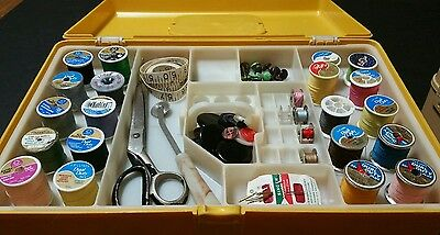 Vintage Wilson Mfg. WIL-HOLD  Sewing Box 2 Trays Notions Supplies Scissors