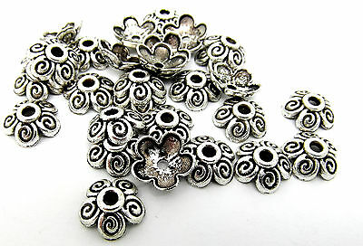 50 Flower Bead Caps Antique Silver Tone 10mm Jewellery Findings J07943