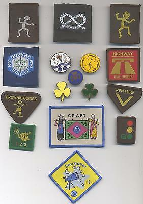 16 Different Brownie Guide   Badges- 11 Cloth, 5 Metal