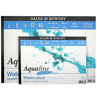 Daler Rowney A4 A3 Aquafine Smooth Hot Press 300gsm Watercolour Paper 12 Sheets