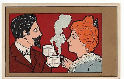 A2917 Henri Meunier postcard, Couple drinking tea, Art Nouveau
