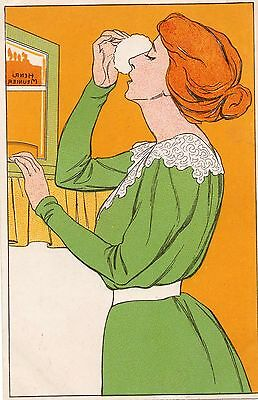 A2931 Henri Meunier, Beautiful Woman powdering her nose, Art Nouveau