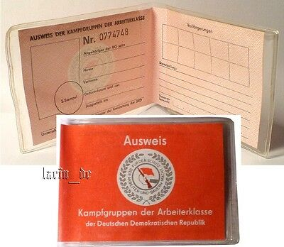 DDR Kampfgruppen Ausweis East german Combat troops Doc ID  Document GDR RDA