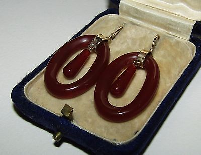Rare, Beautiful, Antique, Chinese, 10 Ct Gold Earrings With Fine Red Jade Gems