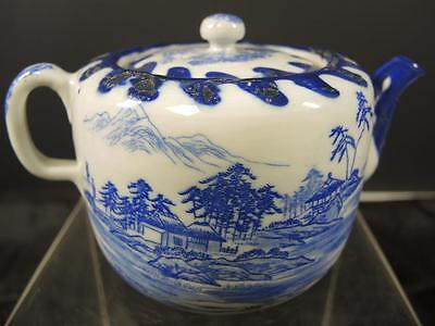 Antique Japanese Blue & White Two Cup Tea Pot