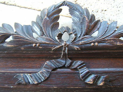 Antique French Wood Salvage Pediment Bay Leaves And Ribbon Cornice Carved