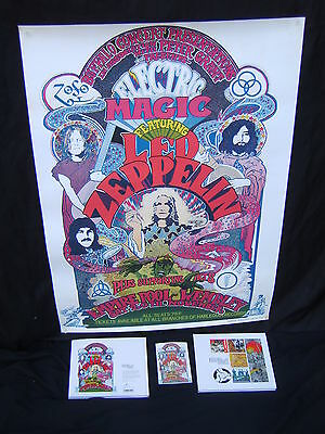 Led Zeppelin Electric Magic poster signed by designer plus his signed book etc