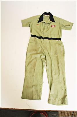 Vintage Texaco Coveralls employee service advertising gas station GREEN overalls