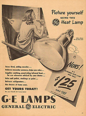 1947 vintage AD GE Infrared Heat Lamps General Electric 092615