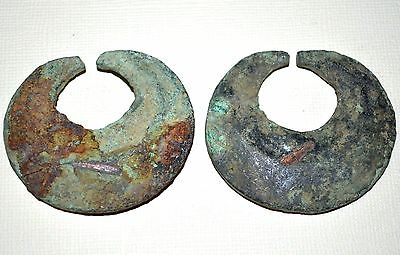 Rare Ancient Bronze Earring Set Green Patina Excavated From Djenne, Mali, Africa