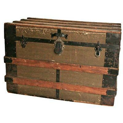 Vintage STEAMER TRUNK train luggage BROWN flat top coffee table antique rustic Z