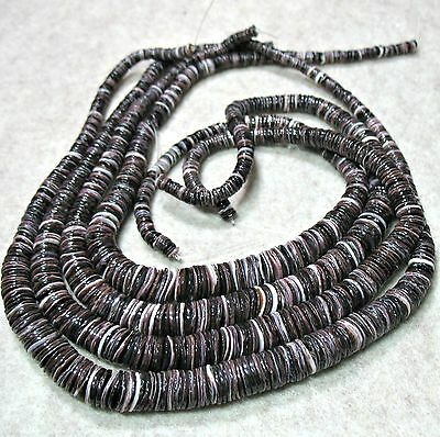 Natural Dark Purple Spiny Oyster Shell 4-10mm Graduated Heishi Chip Beads 16""