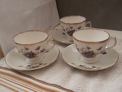 1954 - 9 Three H. F. W. & Co Cups And Saucers With A Purple Violets Pattern