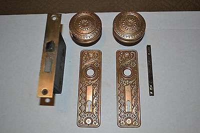 Antique Vintage Door Knobs Brass Hardwear Lockset AND Face Plates