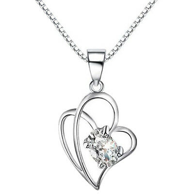 Heart Winding Pendant Necklace 925 Sterling Silver Womens Jewellery Valentine