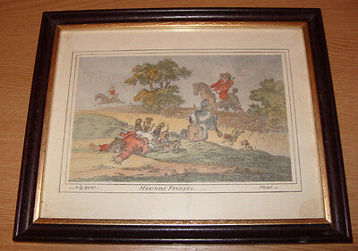 Hounds finding by James Gillray Victorian Hand-coloured Print Framed