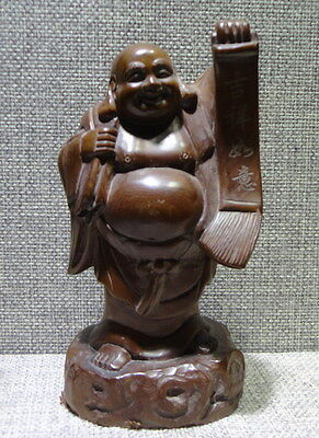 Chinese Old Hand Engraving Pot-bellied Buddha Boxwood Carving Sculpture