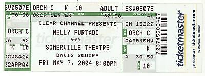 Rare NELLY FURTADO 5/7/04 Somerville MA Theatre Concert Ticket! Boston