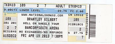 Rare BRANTLEY GILBERT 4/19/13 Tupelo MS Concert Ticket!