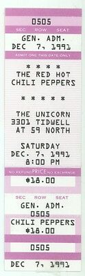 RED HOT CHILI PEPPERS 12/7/91 Houston TX The Unicorn FULL Concert Ticket! RHCP