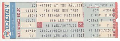 "THE WHO ""Who Are You"" 8/20/78 NYC NY Palladium Private MCA Records Party Ticket!"