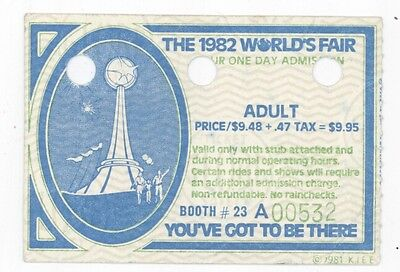 The 1982 Worlds Fair in Knoxville TN: Deluxe Adult Ticket Stub!