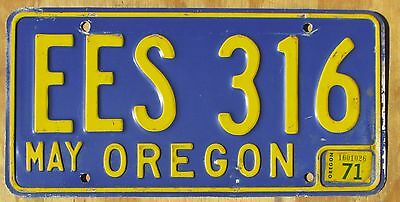 1971 OREGON YELLOW on BLUE license plate  1971  EES 316