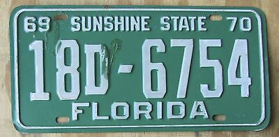 FLORIDA SUNSHINE STATE LEE Co license plate 1969 / 1970  18D-6754