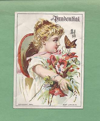 Lovely GIRL, BUTTERFLY On PRUDENTIAL INSURANCE Victorian Trade Card--NEWARK, NJ