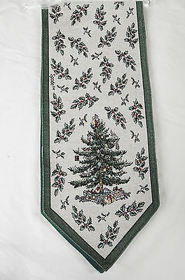 Spode Christmas Tree Pattern Tapestry Table Runner 66x13 by Scene Weaver