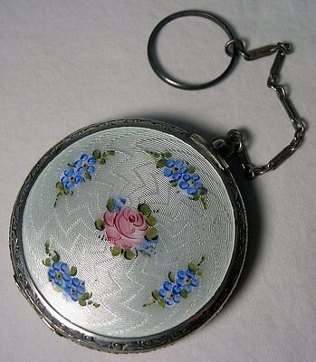 Hand Painted GUILLOCHE ENAMEL & NICKEL SILVER  Finger Chain COMPACT~Deco~1920s