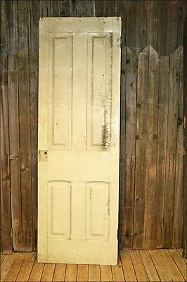 Vintage WOOD DOOR 4 paneled wooden antique white old architectural salvage loft