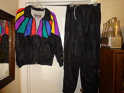 Head Sportswear VTG Large Running TRACK SUIT WARM UP Pants Jacket NYLON Black