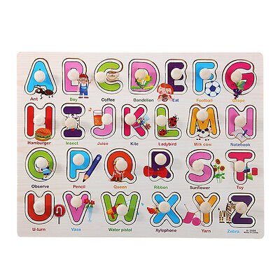 26 PCS Wood Alphabet English Letters Puzzle Jigsaw Educational Toy Gifts HOT