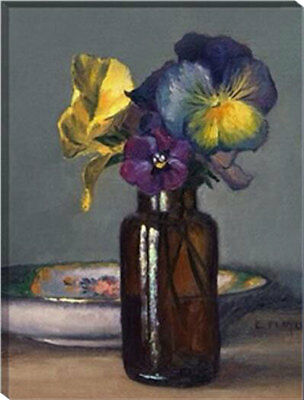 Framed Painting by Number kit A Bottle of Pansies Flower Blossom Floral HT7032
