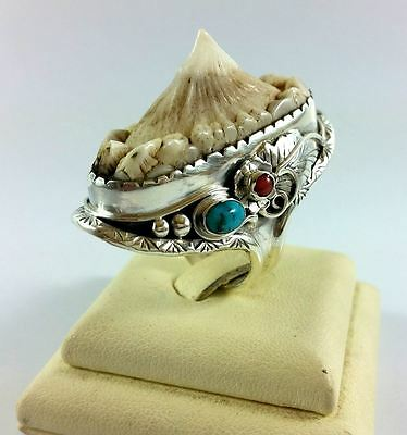 SHARK RAY SPINE 925 SILVER RING Guitarfish taxidermy Harley fossil skull knuckle