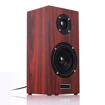 Wooden Computer PC Phone 3.5mm Audio USB Powered Desktop Subwoofer Bass Speaker