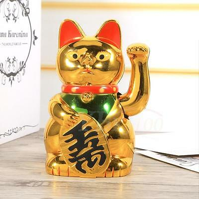 "5"" Chinese Fortune Wealth Lucky Waving Gold Cat Figure With Moving Arm Feng Shui"