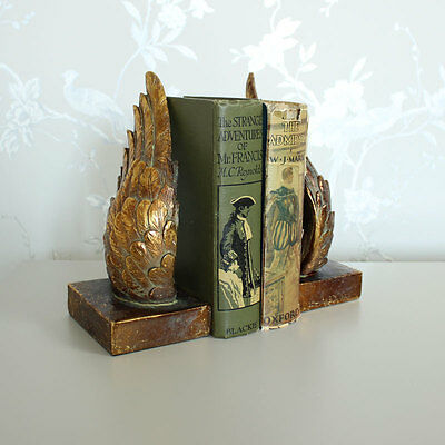 Antique gold angel wing bookends shabby vintage chic gift home books library