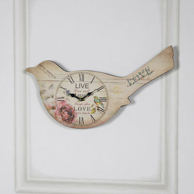 Bird Wall Clock in Cream rose timepiece animals living room bedroom girly
