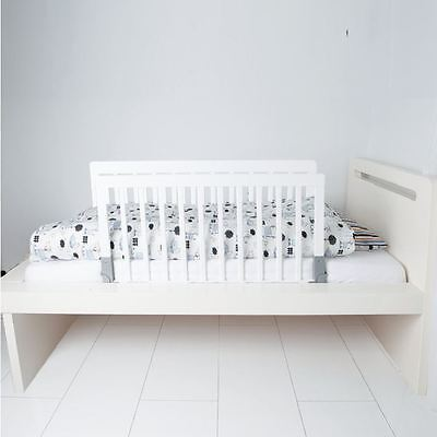 BabyDan Double Sided Kids Wooden Bed Rail Toddler Bed Guard White Wood