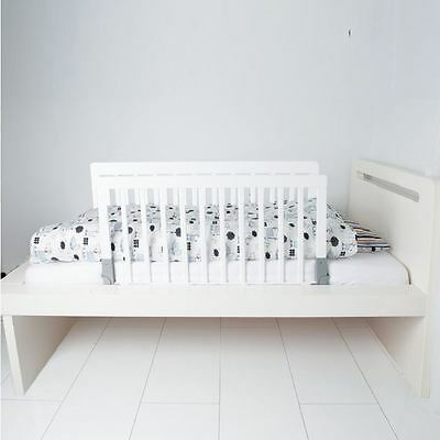 BabyDan Double Sided Wooden Bed Guard White - Dual Bed Rail Natural Wood