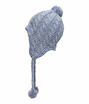 The North Face Womens FUZZY EARFLAP BEANIE HAT Warm Fleece Lined Arctic Ice Blue