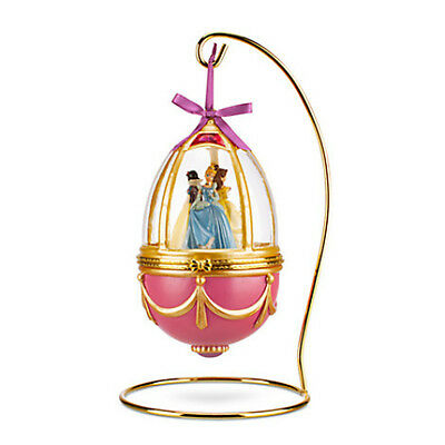 DISNEY STORE PRINCESS Musical Christmas Egg ORNAMENT w/Stand BELLE SNOW WHITE ++