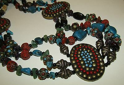 Rare, Antique, Ceremonial Tibetan Belt With Turquoise, Coral And Agate Gems
