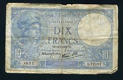 1939 France, 10 Francs. #84, Very Circulated. 631