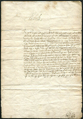 KING CHARLES I (1600-1649) A WARRANT SIGNED BY HIM 'CHARLES R' from Westminster