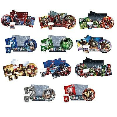 PARTY PACKS - Licensed MARVEL AVENGERS Characters Birthday Tableware Supplies