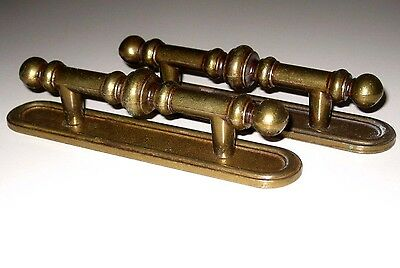 Lot of 4 Vintage Brass Ornate Dresser Desk Drawer Pulls/Handles with Back Plate