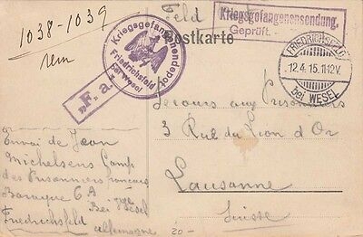 Wwi Pow Postcard ~ Germany To Switzerland ~ 1915 ~ Message Side Also Scanned
